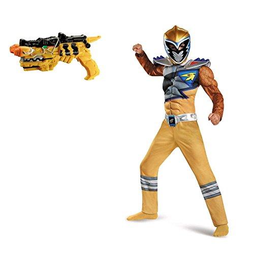 Power Rangers Dino Charge: Gold Ranger Muscle Child Costume Small Blaster Bundle Set (Power Rangers Gold Ranger Costume)