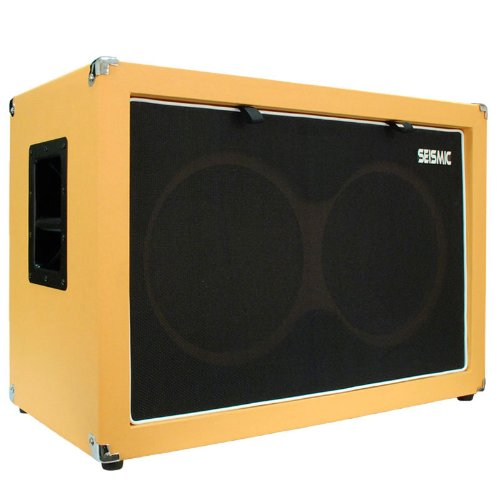 "Seismic Audio - 12"" Guitar Speaker Cabinet Empty - 7 Ply Birch - 2X12 Speakerless Cab New 212 Orange Tolex - Black Cloth Grill - Front Or Rear Loading Options"