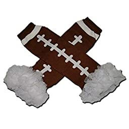 WHITE CHIFFON RUFFLES AMERICAN FOOTBALL (TOUCHDOWN) Baby Sweet Leggings/Leggies/Leg Warmers