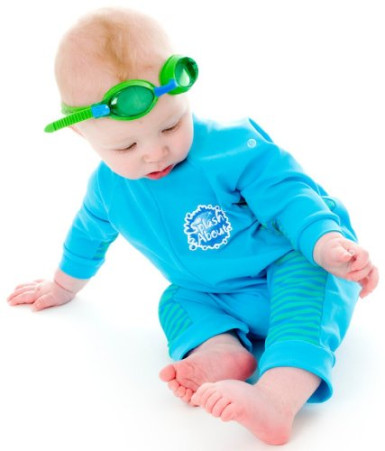 Uv All-In-One Suit (Sun Protection), Turquoise/Blue Lagoon Stripe, 0-3 Months front-206874