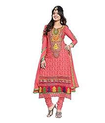 Akantik's Women's Cotton Unstitched Dress Material (AK-WR-AC_Pink_Free Size)