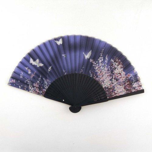Japanese Silk Handheld Fan, Blue Small Flowers With Butterflies Hf85