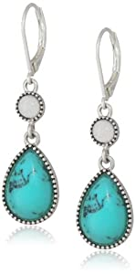 "NINE WEST VINTAGE AMERICA ""Along The Shore"" Worn Silver Tone Turquoise Double Drop Earrings"