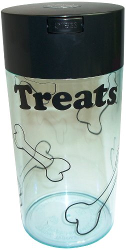 Pawvac 24 Ounce Vacuum Sealed Pet Food Storage Container; Black Cap & Clear Body/Black Treats