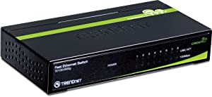 TRENDnet 8-Port Unmanaged 10/100 Mbps GREENnet Ethernet Desktop Metal Housing Switch, TE100-S80G