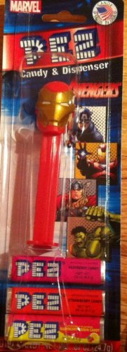 avengers IRON MAN PEZ ON BLISTER CARD WITH 3 PACK REFILL