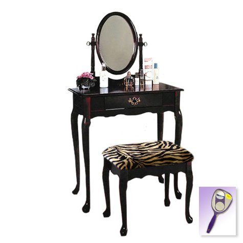 New Cherry Finish Queen Anne Make Up Vanity Table with Mirror & Brown & Black Zebra Faux Fur Themed Bench