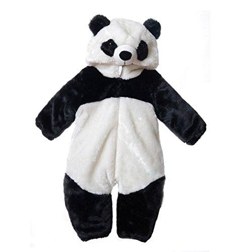 ベビー  着ぐるみ  パンダさん  ジャンプスーツ 赤ちゃん モコモコロンパース衣装 フード付き Ruleronline (110cm(2歳-2.5歳))