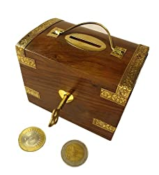 Pindia Beautiful vintage Traditional chest shaped medium wooden money box