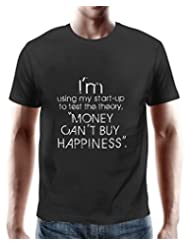 PosterGuy Money Cant Buy Happiness Black Cotton Quote T-Shirt For Men By NASSCOM 10000 Startups