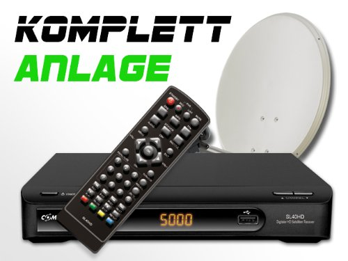 COMAG Digitale HDTV Single Satelliten-Anlage Komplett-Set SL40HD (Inklusive: HDTV Receiver, Single LNB, 60er Stahlantenne, Masthalterung)