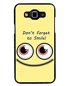 Fuson Premium Smile Metal Printed with Hard Plastic Back Case Cover for Samsung Galaxy Grand Max G7200
