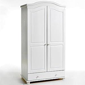 kleiderschrank dielenschrank garderobenschrank landhausstil bergen 2 t ren wei. Black Bedroom Furniture Sets. Home Design Ideas