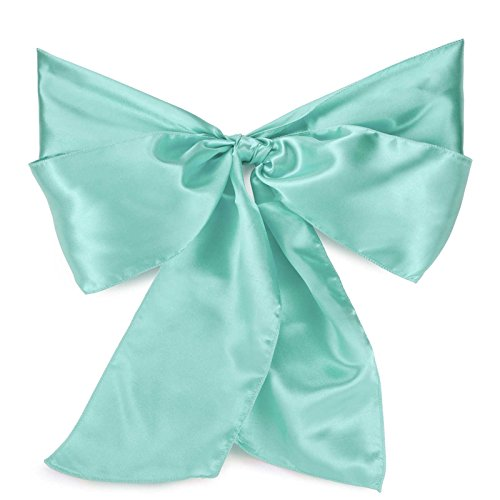 Lann's Linens - 100 Satin Chair Cover Bow Sashes - for Wedding or Party Use - Turquoise