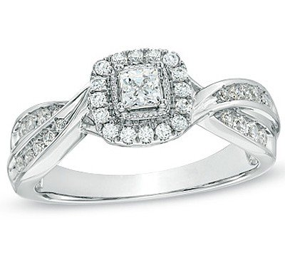 1.00 Carat Antique Engagement Ring On Sale With Princess Cut Diamond On 18K White Gold