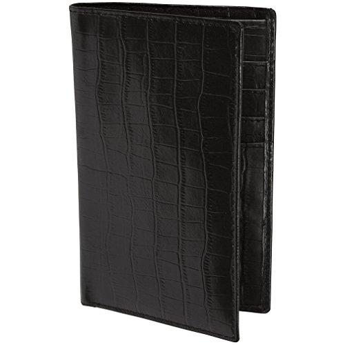 Rfid Blocking Italian Leather Passport Holder Wallet (Black Croco)