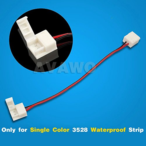 Avawo 5Pcs Connector Adapter Cable(Fit Smd 3528 Waterproof Single Color) - 8Mm Strip To Strip - Five Pack