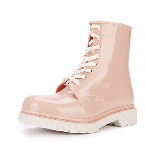 okshoes da donna chiarezza impermeabile caviglia Martin in gomma con lacci per stivali da pioggia gardenboot, rosa (Blush), 34