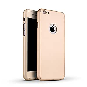 Delkart 360 Degree Cover For Apple I Phone 6/6s With Tempered Glass For Screen Protection (Gold)