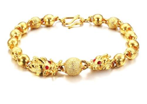 SOPO 18k Yellow Gold Plated Bracelet for Women Dragon Bead Chain Bracelets