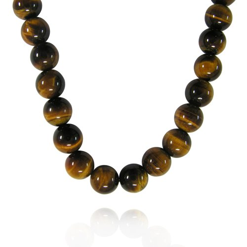 10mm Round Tiger Eye Bead Necklace, 22+2