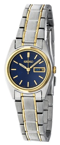 Seiko Women's Quartz Watch with Blue Dial Analogue Display and Silver Stainless Steel Bracelet SXA120P1