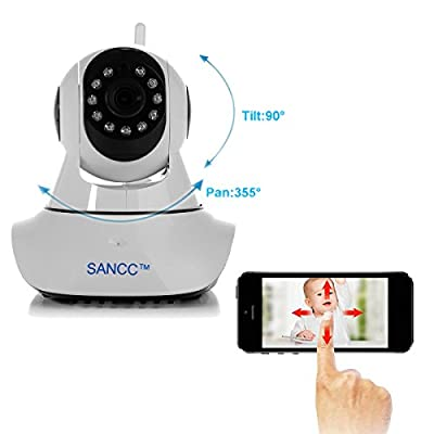 Baby Monitor, SANCC™ Wireless WiFi IP Surveillance Camera HD 720P Nanny Cam Video Recording Play/Plug Pan Tilt Remote Motion Detect Alert with Two-Way Audio Night Vision, Micro SD Card(Black)