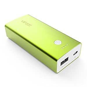 External Battery Charger, Vinsic Tulip 6000mah Power Bank, 5V 2.1A Battery Pack USB Charger for iPhone 6 Plus/6, iPhone 5S/5C/5/4S, iPad, iPod, Samsung Devices, HTC, Motorola, Cell Phones (Green)