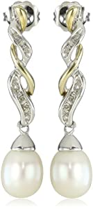 S&G Sterling Silver and 14k Yellow Gold Freshwater Cultured Pearl and Diamond Drop Earrings (0.06 cttw, I-J Color, I3 Clarity)