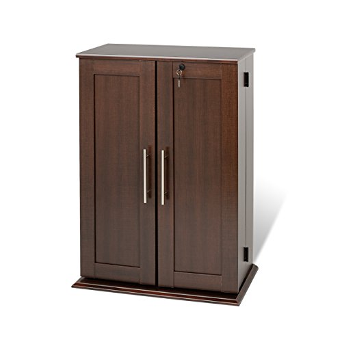 Espresso Locking Media Storage Cabinet with Shaker Doors (Media Cabinets compare prices)