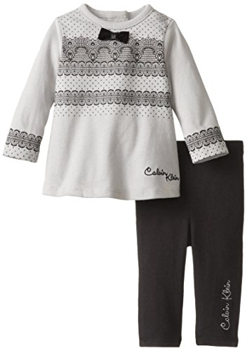 Calvin Klein Baby-Girls Newborn Tunic With Black Leggings, Gray, 0-3 Months