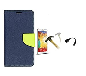 Samsung Galaxy Note 2 N7100 Mercury Flip Wallet Diary Card Case Cover (Blue/Green +TEMPERED+ OTG) By Mobile Life