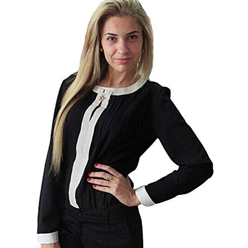 CHIC-CHIC-Blouse-Basique-Pull-over-Femme-T-shirt-Haut-Longue-Manche-Casual-Automne