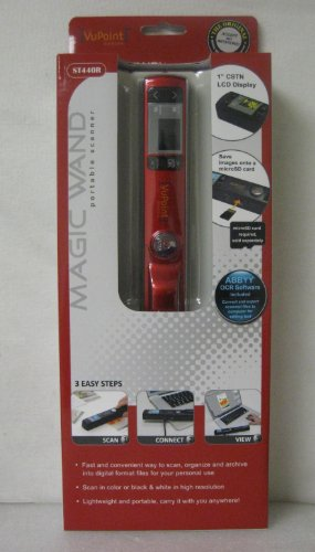 Vupoint Magic Wand Portable Scanner With Color Lcd Preview Display (Red)