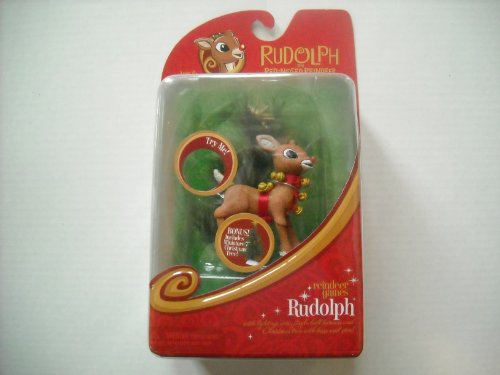 Rudolph the Red Nosed Reindeer Reindeer Games Rudolph Figure with Light Up Nose and Jingle Bell Harness - 1