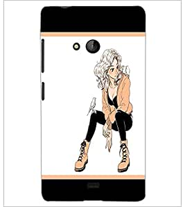 PrintDhaba Smart Girl D-1297 Back Case Cover for MICROSOFT LUMIA 540 (Multi-Coloured)