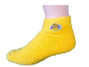 LA Lakers NBA Adult Fuzzy Soft Sleep Socks-Size Medium by For Bare Feet