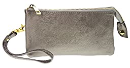 PROYA Collection Classic Soft-Leather Mini All-in-one Wristlet Organizer Wallet (Silver)
