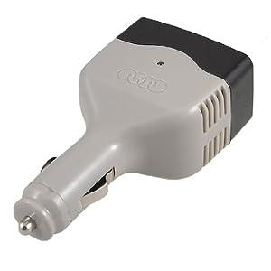DC 12-24V Input AC 220/230V Output Car Power Adapter Converter Gray Black