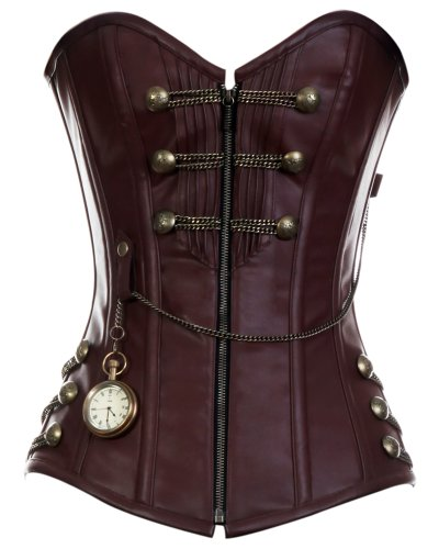 CD-467 - Brown Steam punk Style Corset with Chain Detail - 26