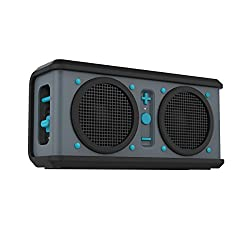 Skullcandy Air Raid Rugged Water and Drop Resistant Portable Rechargeable Wireless Bluetooth Speaker - Grey/Black/Hot Blue