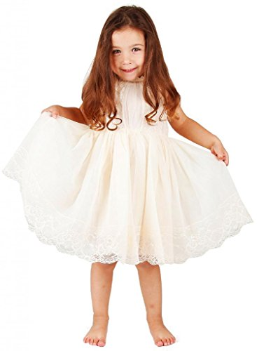 Bow Dream Flower Girl's Dress Lace Ivory 2T (Girls Vintage Dress compare prices)