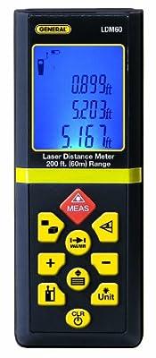 General Tools & Instruments LDM60 200-feet Range Laser Distance Meter Professional Grade