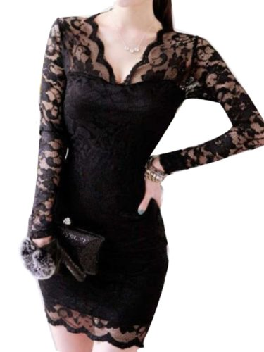 Lady'S Sexy Long Sleeve Evening Party Cocktail Ball Lace Mini Dress Clubwear