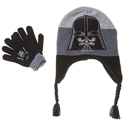 Star Wars Boys Darth Vader Winter Beanie Hat & Gloves Set (Vader Gloves)