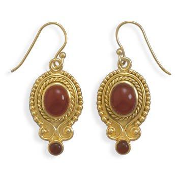 Sterling Silver 14 Karat Gold Plated Carnelian Earrings