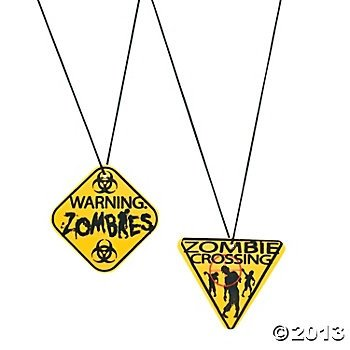 "Party Supplies - Zombie Warning Sign Necklaces,2""-2 1/4"" plastic signs,12 ct"