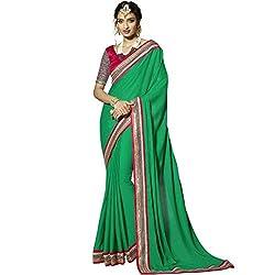 Vasu Saree Latest Designer Pretty Green Colour Border Embroidered Viscose Saree with Fashionable Blouse