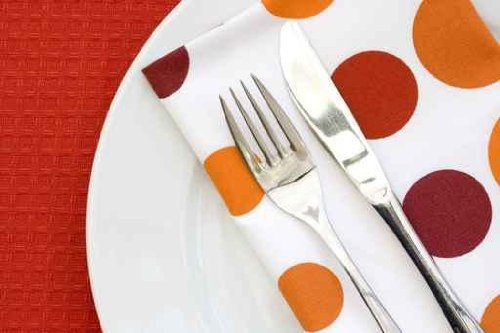 "White Plate on Red Table Cloth with Fork Knife and Napkin - 24""W x 16""H - Peel and Stick Wall Decal by Wallmonkeys"