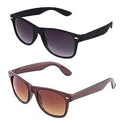 Rhodopsin UV Protected Avaitor Sunglasses (Combo_Black_Brown_Wayfarer)